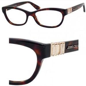 Jimmy Choo Tortoise & Gold Crystals Glasses Frames